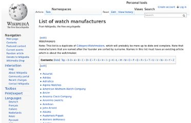 http://en.wikipedia.org/wiki/List_of_watch_manufacturers