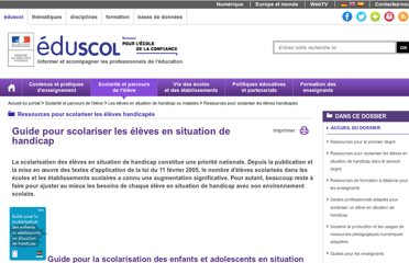 http://eduscol.education.fr/cid47791/guides-scolariser-les-eleves-handicapes.html