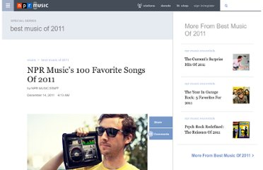 http://www.npr.org/2011/12/14/143580858/npr-musics-100-favorite-songs-of-2011