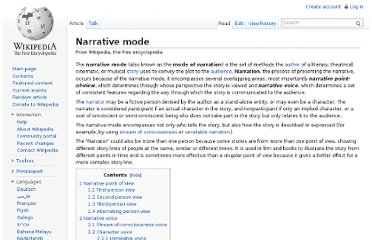 http://en.wikipedia.org/wiki/Narrative_mode