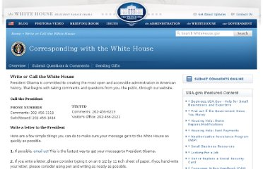 http://www.whitehouse.gov/contact/write-or-call#write
