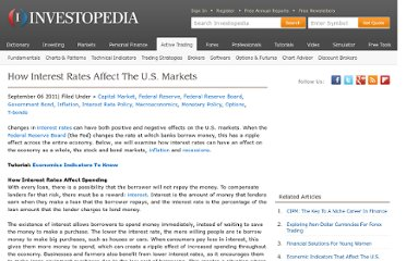 http://www.investopedia.com/articles/stocks/09/how-interest-rates-affect-markets.asp#ixzz1gWomkfTp