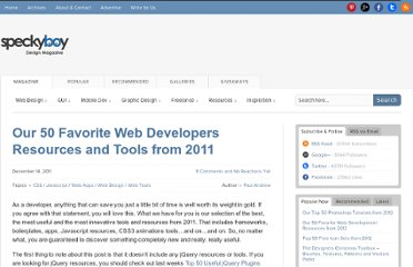 http://speckyboy.com/2011/12/14/our-50-favorite-web-developers-resources-and-tools-from-2011/