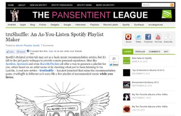 http://pansentient.com/2011/05/trushuffle-an-as-you-listen-spotify-playlist-maker/