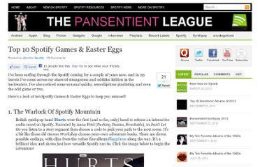 http://pansentient.com/2011/07/top-10-spotify-games-glitches-easter-eggs/