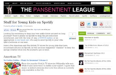 http://pansentient.com/2011/08/stuff-for-young-kids-on-spotify/
