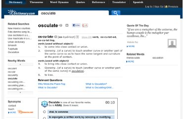 http://dictionary.reference.com/browse/osculate