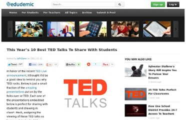 http://edudemic.com/2011/12/10-ted-talks/