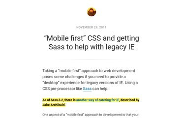 http://nicolasgallagher.com/mobile-first-css-sass-and-ie/