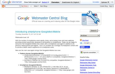 http://googlewebmastercentral.blogspot.com/2011/12/introducing-smartphone-googlebot-mobile.html