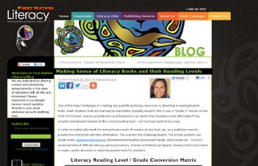 http://www.firstnationliteracy.com/making-sense-of-literacy-books-and-their-reading-levels/