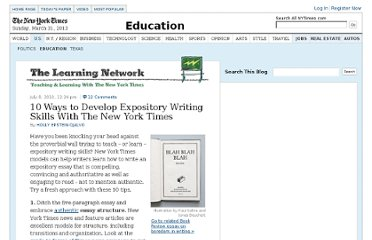 http://learning.blogs.nytimes.com/2010/07/08/10-ways-to-develop-expository-writing-skills-with-the-new-york-times/