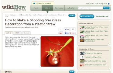 http://www.wikihow.com/Make-a-Shooting-Star-Glass-Decoration-from-a-Plastic-Straw
