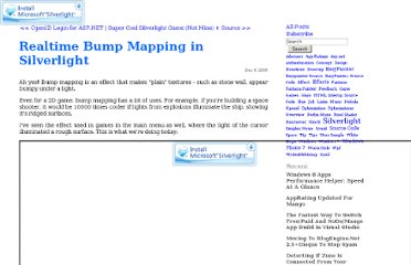http://nokola.com/blog/post/2009/12/06/Realtime-Bump-Mapping-in-Silverlight.aspx
