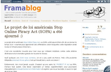 http://www.framablog.org/index.php/post/2011/12/17/sopa-stop-online-piracy-act-ajourne