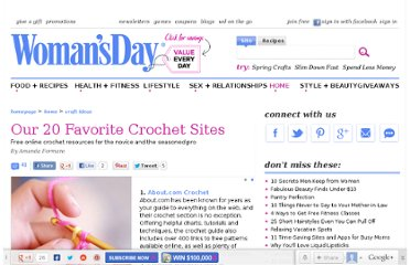 http://www.womansday.com/home/craft-ideas/Our-20-Favorite-Crochet-Sites