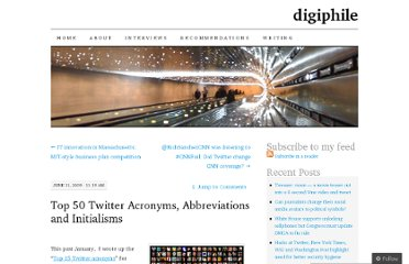 http://digiphile.wordpress.com/2009/06/11/top-50-twitter-acronyms-abbreviations-and-initialisms/