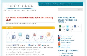 http://barryhurd.com/2011/11/10-social-media-dashboards-for-tracking-stuff/