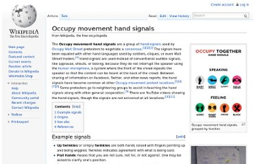 http://en.wikipedia.org/wiki/Occupy_movement_hand_signals