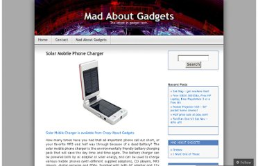 http://madaboutgadgets.wordpress.com/2007/05/18/solar-mobile-phone-charger/