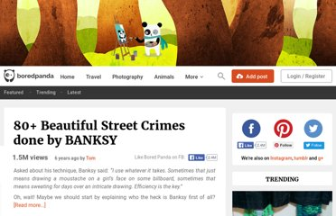 http://www.boredpanda.com/80-beautiful-street-crimes-done-by-banksy/