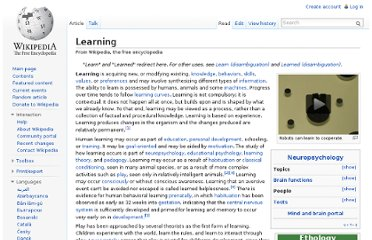 http://en.wikipedia.org/wiki/Learning