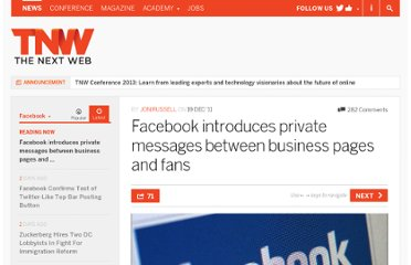 http://thenextweb.com/facebook/2011/12/19/facebook-introduces-private-messages-between-business-pages-and-fans/