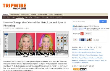 http://www.tripwiremagazine.com/2011/12/how-to-change-the-color-of-the-hair-lips-and-eyes-in-photoshop.html
