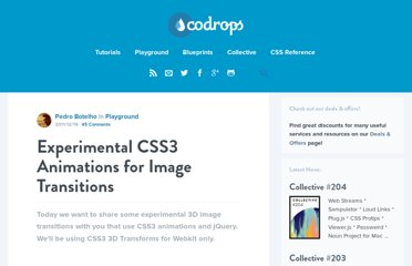 http://tympanus.net/codrops/2011/12/19/experimental-css3-animations-for-image-transitions/