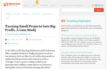 http://www.smashingmagazine.com/2011/12/19/turning-small-projects-into-big-profit-case-study/