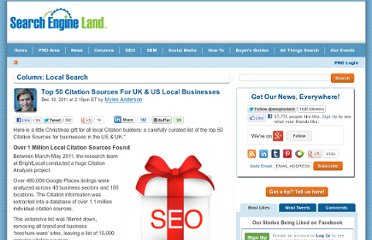 http://searchengineland.com/top-50-citation-sources-for-uk-us-local-businesses-104938