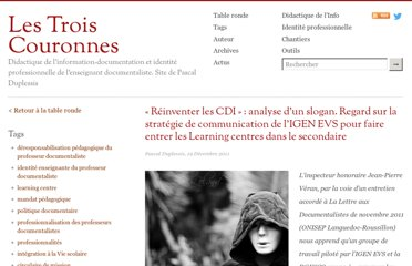 http://lestroiscouronnes.esmeree.fr/table-ronde/reinventer-les-cdi-analyse-d-un-slogan-regard-sur-la-strategie-de-communication-de-l-igen-evs-pour-faire-entrer-les-learning-centres-dans-le-secondaire