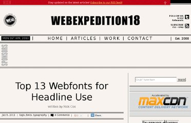 http://webexpedition18.com/articles/top-13-webfonts-for-headline-use/