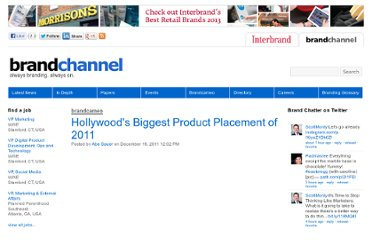 http://www.brandchannel.com/home/post/2011/12/19/Brandcameo-Biggest-Product-Hollywood-Placed-in-2011-Places-121911.aspx