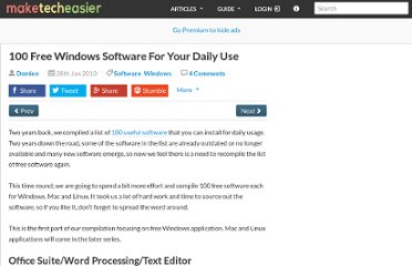 100 free windows software for