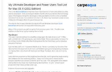 http://carpeaqua.com/2011/12/19/my-ultimate-developer-and-power-users-tool-list-for-mac-os-x-2011-edition-/