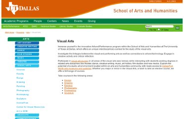 http://www.utdallas.edu/ah/programs/arts/visual/index.html