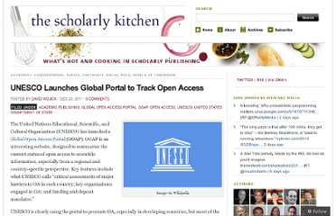 http://scholarlykitchen.sspnet.org/2011/12/20/unesco-launches-global-portal-to-track-open-access/
