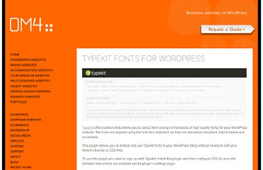 http://om4.com.au/wordpress-plugins/typekit-fonts-for-wordpress-plugin/