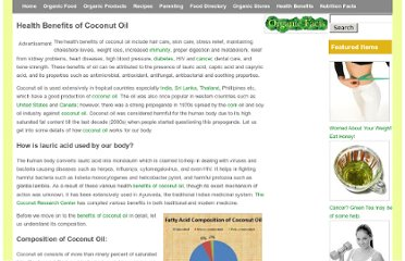 http://www.organicfacts.net/organic-oils/organic-coconut-oil/health-benefits-of-coconut-oil.html