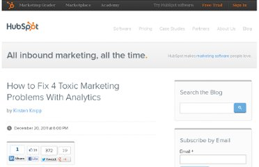 http://blog.hubspot.com/blog/tabid/6307/bid/29593/How-to-Fix-4-Toxic-Marketing-Problems-With-Analytics.aspx
