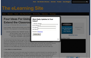 http://theelearningsite.com/2011/12/four-ideas-for-using-online-tools-to-extend-the-classroom/