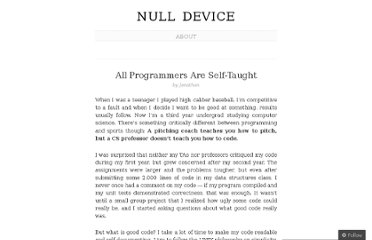 http://jgneuf.wordpress.com/2011/12/20/all-programmers-are-self-taught/