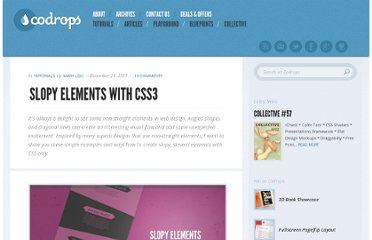 http://tympanus.net/codrops/2011/12/21/slopy-elements-with-css3/