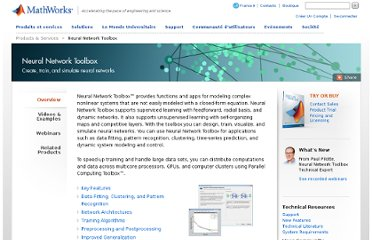 http://www.mathworks.com/products/neural-network/index.html