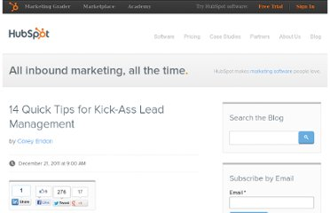 http://blog.hubspot.com/blog/tabid/6307/bid/30021/14-Quick-Tips-for-Kick-Ass-Lead-Management.aspx