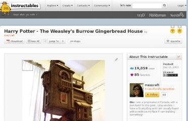 http://www.instructables.com/id/Harry-Potter-The-Weasleys-Burrow-Gingerbread-Ho/