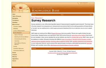 http://www.socialresearchmethods.net/kb/survey.htm