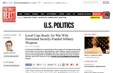 http://www.thedailybeast.com/articles/2011/12/20/local-cops-ready-for-war-with-homeland-security-funded-military-weapons.html