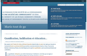 http://blogue.marioasselin.com/2011/03/gamification_ludification_education/